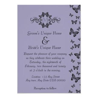 Purple Butterflies Monogram Wedding Card