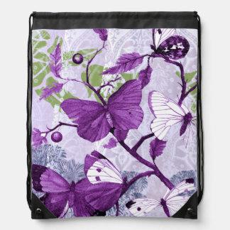 Purple Butterflies on a Branch American MoJo Drawstring Backpacks