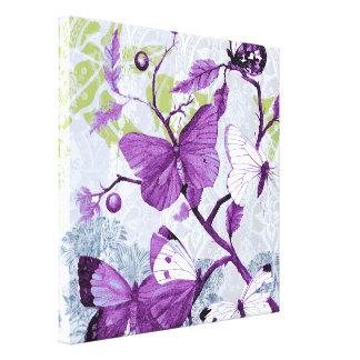 Purple Butterflies on a Branch Canvas Print
