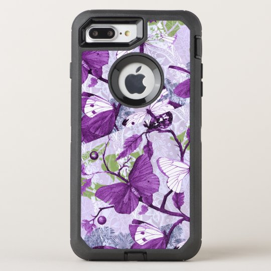 Purple Butterflies on a Branch OtterBox Defender iPhone 8 Plus/7 Plus Case