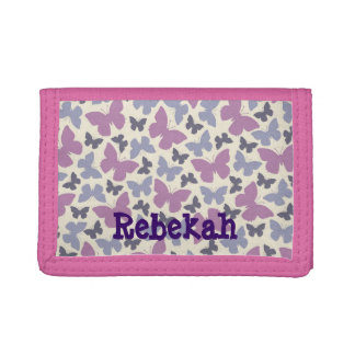 Purple Butterflies Personalized Girls Wallet