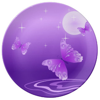 Purple Butterflies Porcelain Plate