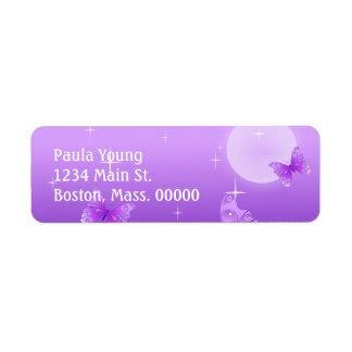 Purple Butterflies Return Address Label