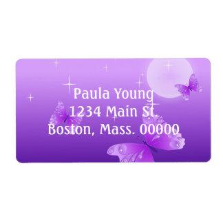 Purple Butterflies Shipping Label