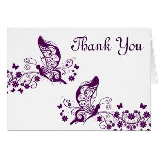 Purple butterflies thank you card