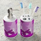 Purple butterflies toothbrush & soap holder. soap dispenser and toothbrush holder