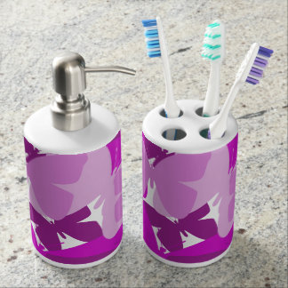 Purple butterflies toothbrush & soap holder. soap dispenser and toothbrush holder