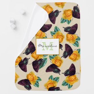 Purple Butterflies & Yellow Roses with Baby's Name Baby Blanket