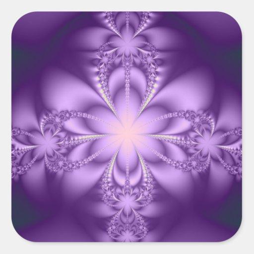 Purple butterflower square sticker