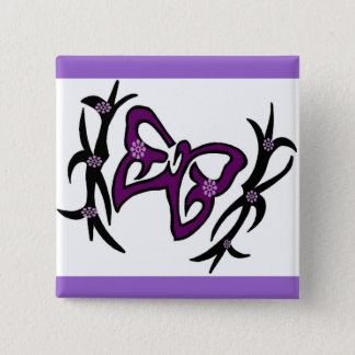 Purple butterfly 2 inch square button
