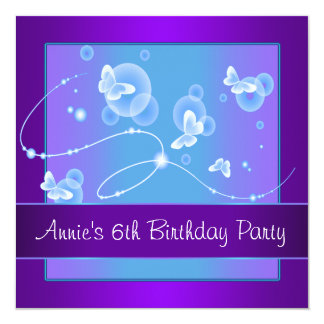 Purple Butterfly 6th Birthday Party Card