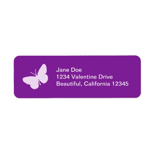 Purple Butterfly Address Labels