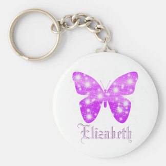 Purple butterfly and stars personalized with name basic round button keychain