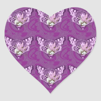 Purple Butterfly Angel Heart Sticker