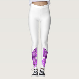 Purple Butterfly Ankle Leggings