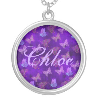 Purple Butterfly Art Silver Plated Necklace