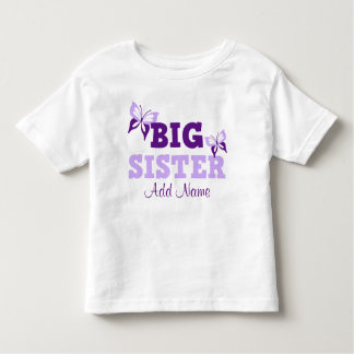 Purple Butterfly Big Sister Personalized Toddler T-shirt