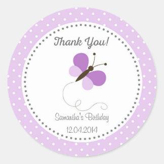 Purple Butterfly Birthday Sticker