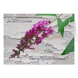 Purple Butterfly Bush Welcome to the Neighborhood Greeting Card