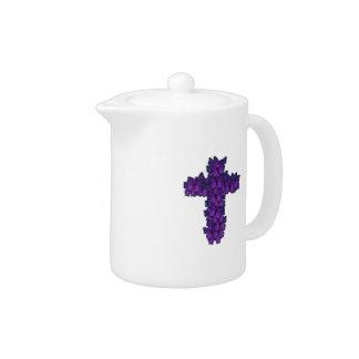Purple Butterfly Cross Porcelain Tea Pot