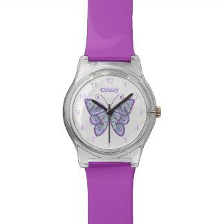 Purple Butterfly Custom Wrist Watch