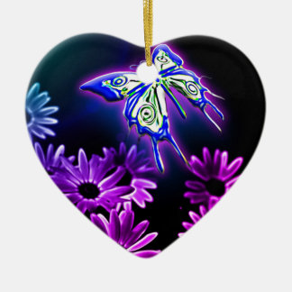 Purple Butterfly Daisy Ceramic Ornament