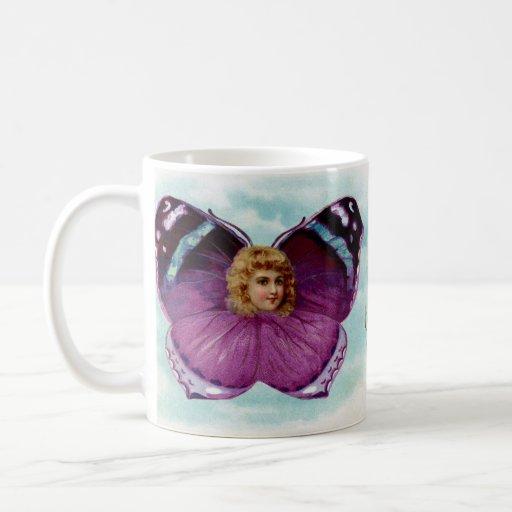 Purple Butterfly Girl Vintage Birthday Coffee Mug
