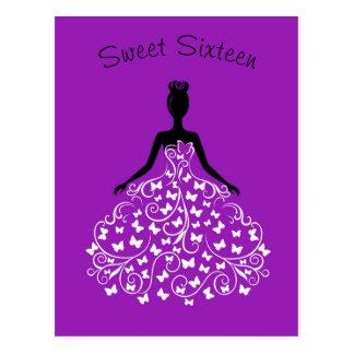 Purple Butterfly Gown Sweet Sixteen Invitation Postcard