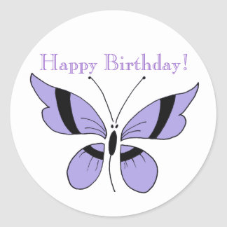 "Purple butterfly, ""Happy Birthday"", round sticker. Round Sticker"