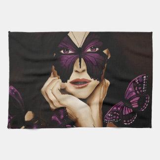Purple Butterfly Mask Kitchen Towel