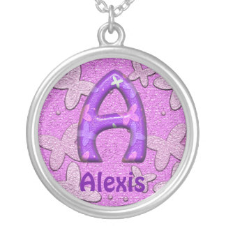 Purple Butterfly Necklace~Letter A~Customize Name Silver Plated Necklace