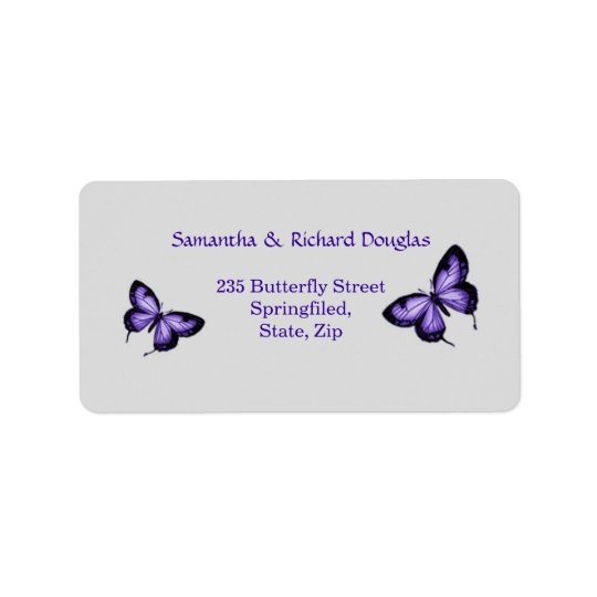 Purple butterfly on silver background Label