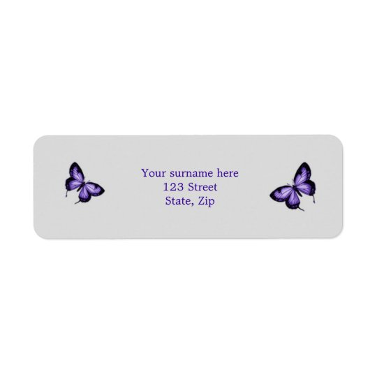 Purple butterfly on silver background Label Return Address Label