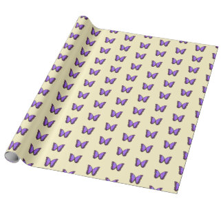 Purple butterfly on vanilla cream wrapping paper