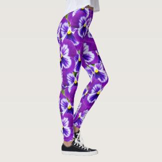 Purple Butterfly Pansies, Ladies Floral Leggings. Leggings