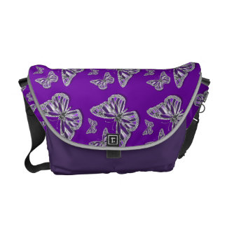 Purple butterfly pattern courier bag