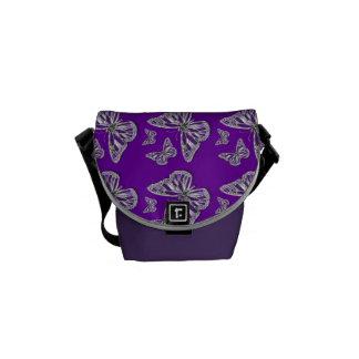 Purple butterfly pattern commuter bag