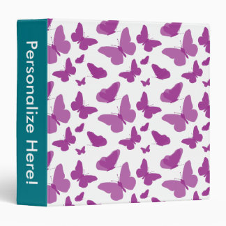 Purple Butterfly Pattern Vinyl Binder