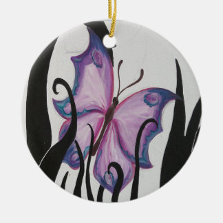 Purple Butterfly Round Ceramic Ornament