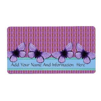 Purple Butterfly Shipping Label