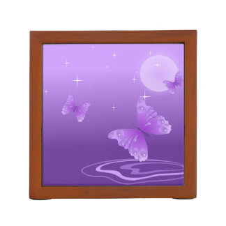 Purple Butterfly Sparkle Moon Desk Organizer