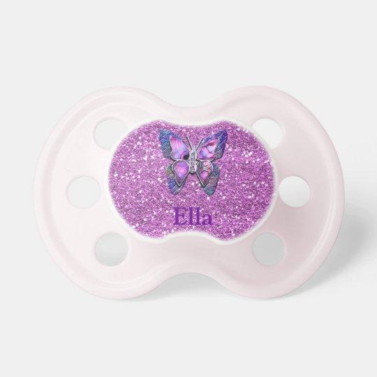 Purple Butterfly sparkle Pacifier