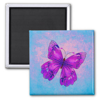 PURPLE BUTTERFLY ~ SQUARE MAGNET