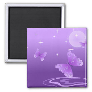 PURPLE BUTTERFLY SQUARE MAGNET