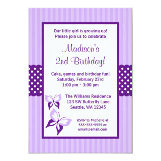 Purple Butterfly Striped Dots Birthday Party Card