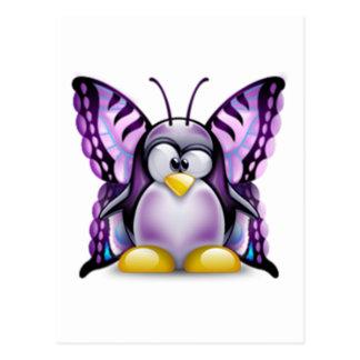 Purple Butterfly Tux (Linux Tux) Postcard