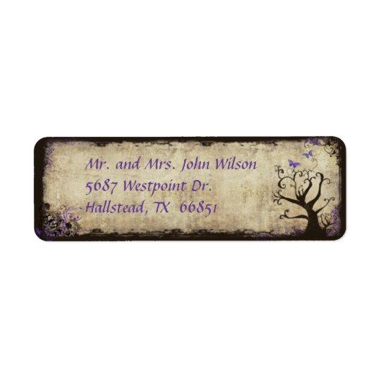 Purple Butterfly Vintage Return Address Label