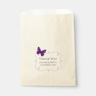 Purple Butterfly Wedding Favour Bag
