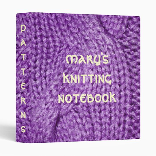 Purple Cable Knit PRINT Pattern Notebook Binder