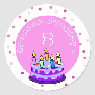 purple cake with candles birthday personalized classic round sticker
